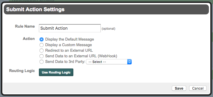 Formstack Submit Action Settings
