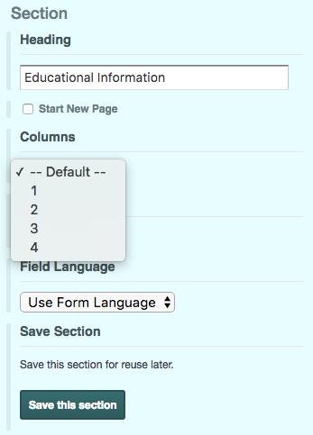 Online Form Section Column Options