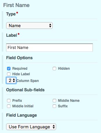 Online Form Field Column Span