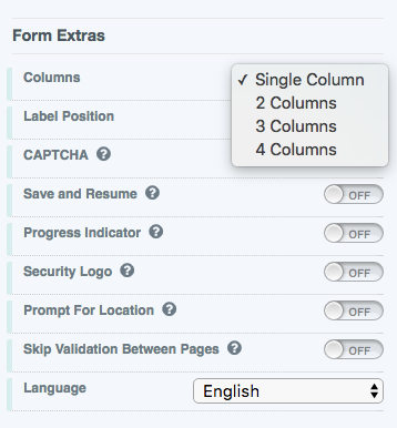 Online Form Columns Options