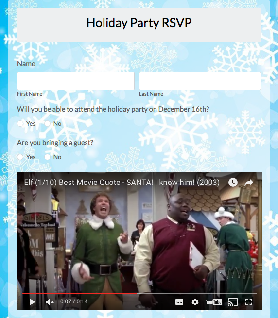 Holiday RSVP Form with Video Embedding