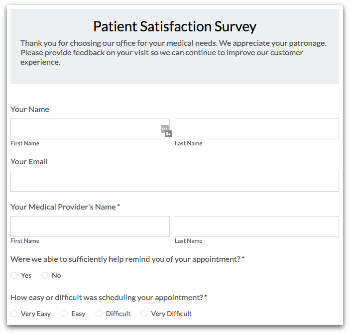 Healthcare Forms: Online Patient Satisfaction Survey
