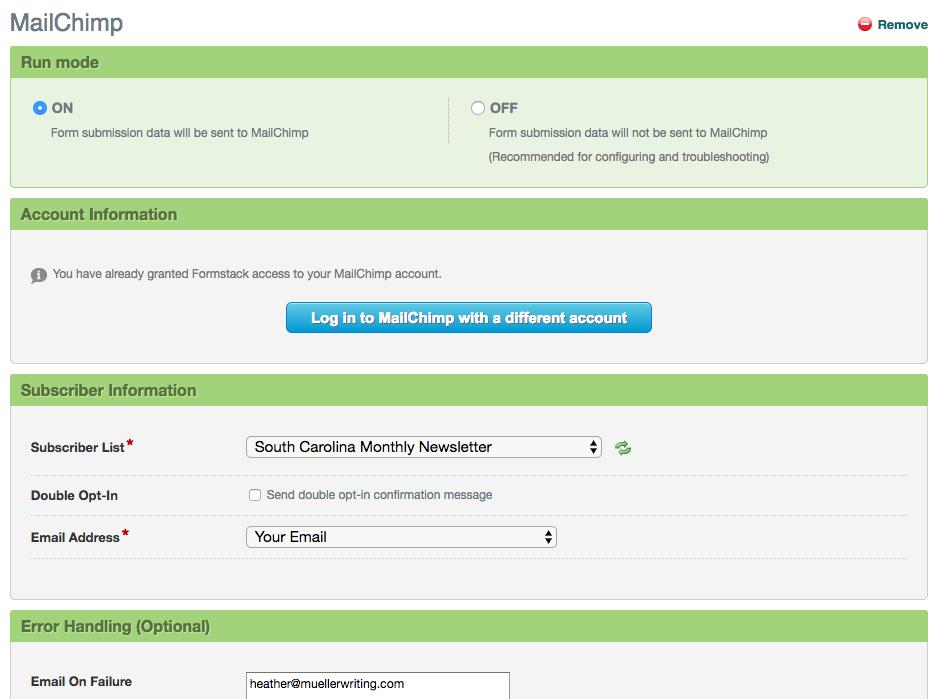 Formstack MailChimp Integration