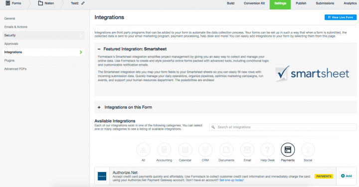 Formstack payment integrations