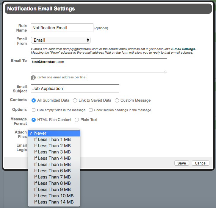 Notification Email Web Form Attachment Settings