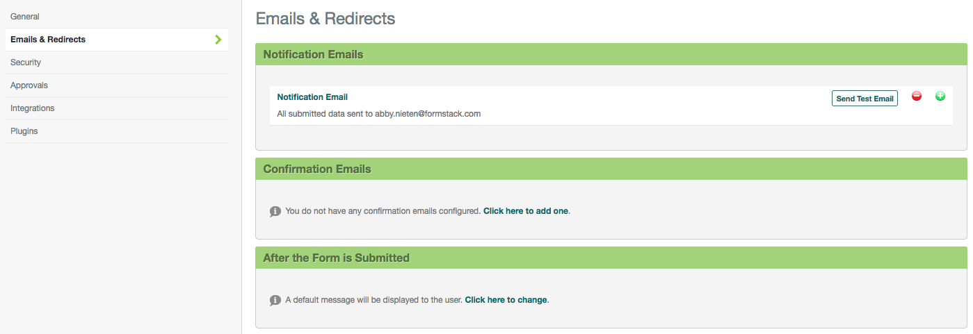 Formstack Emails & Redirects