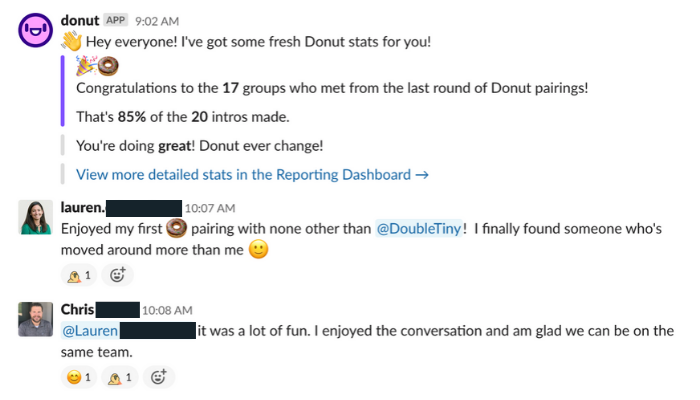 Donut Slack App for cross-departmental collaboration