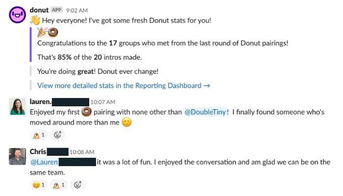Donut Slack App for cross-departmental collaboration
