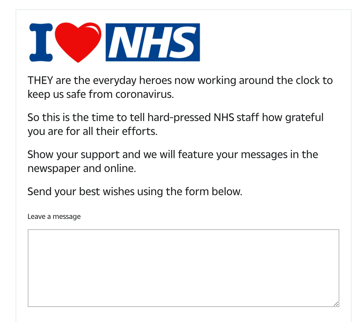 I Heart NHS Submission Form