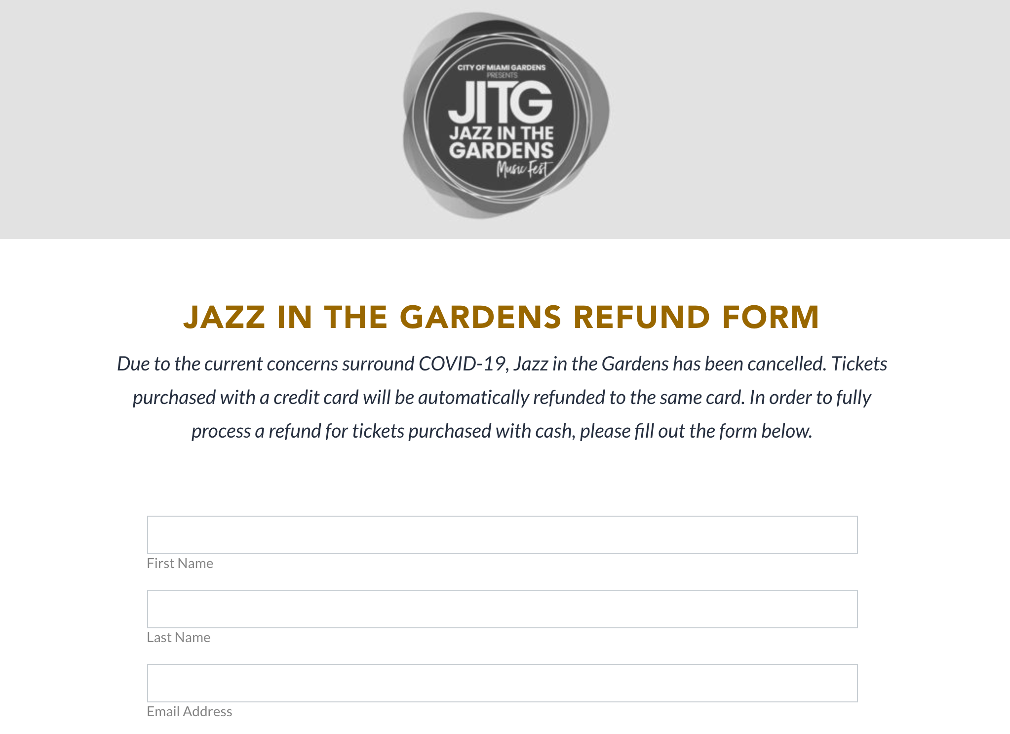 Jazz In the Gardens Refund Form