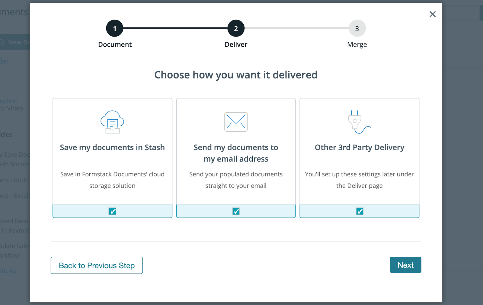 Choose your delivery Formstack Documents Screen Shot