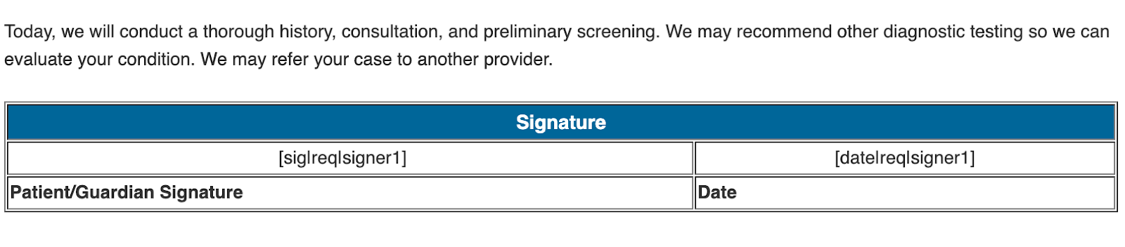 eSignature Document Field Screenshot