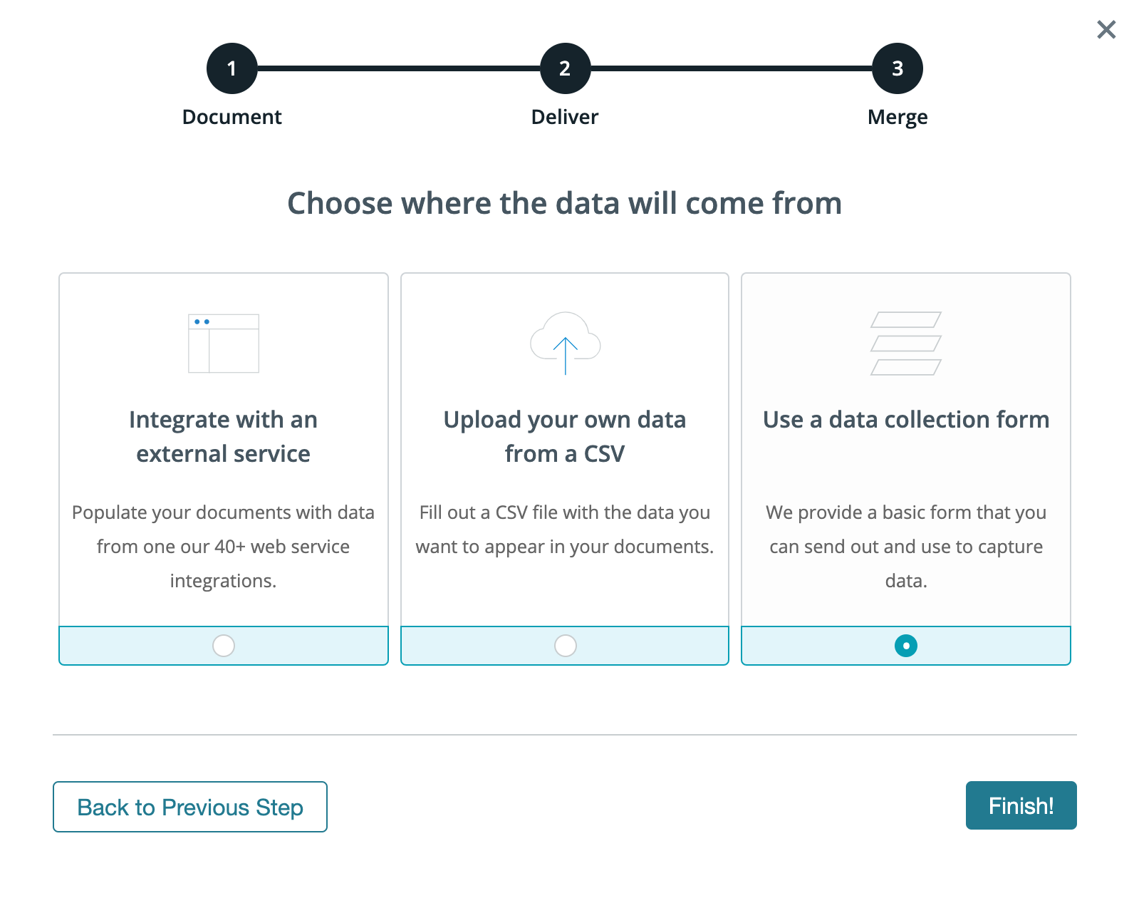 Formstack Documents choose your data source screenshot