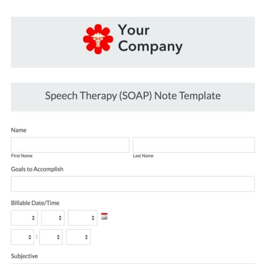 Speech Therapy Soap Note Template Formstack