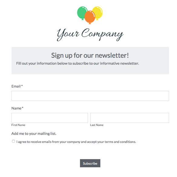 Mailing List Signup Form Template Auto Export Lists Formstack