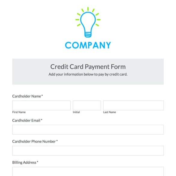 Credit Card Payment Form Template Formstack