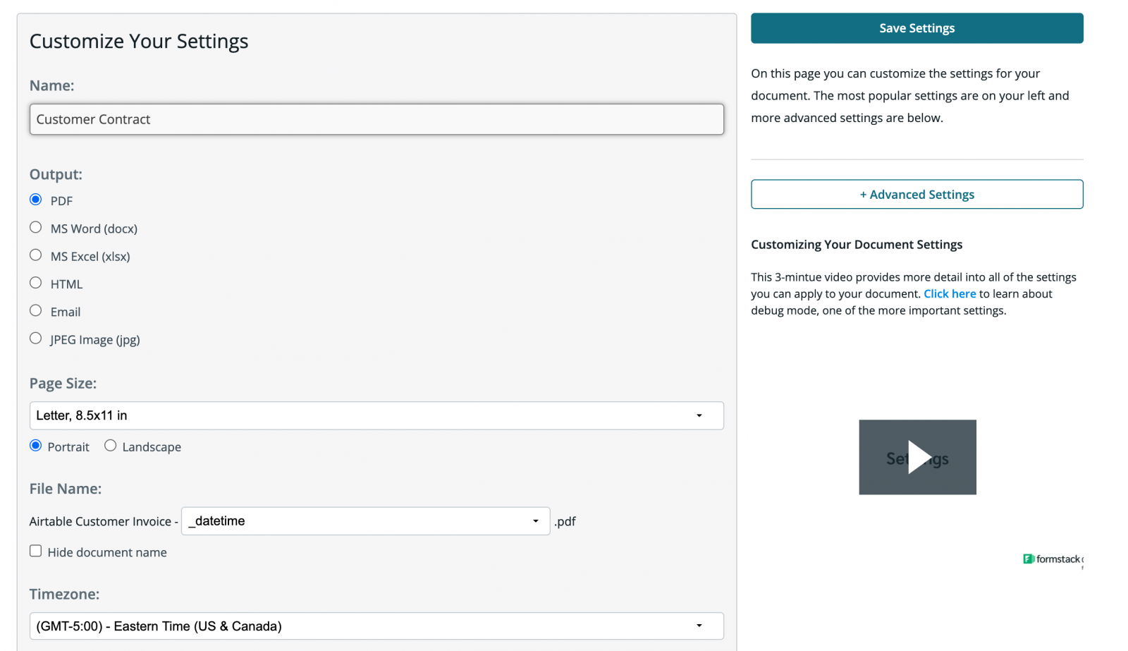 Customize Your Settings Formstack Documents Product Screenshot