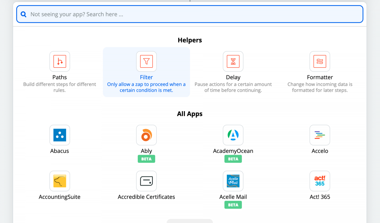 Zapier Product Screenshot