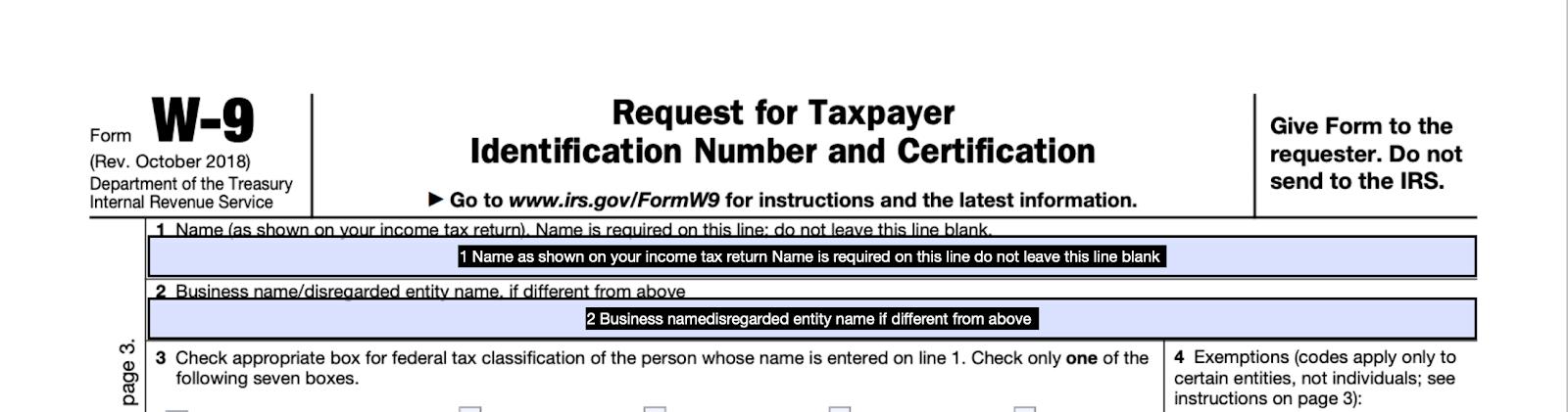 Fillable PDF W9 Form
