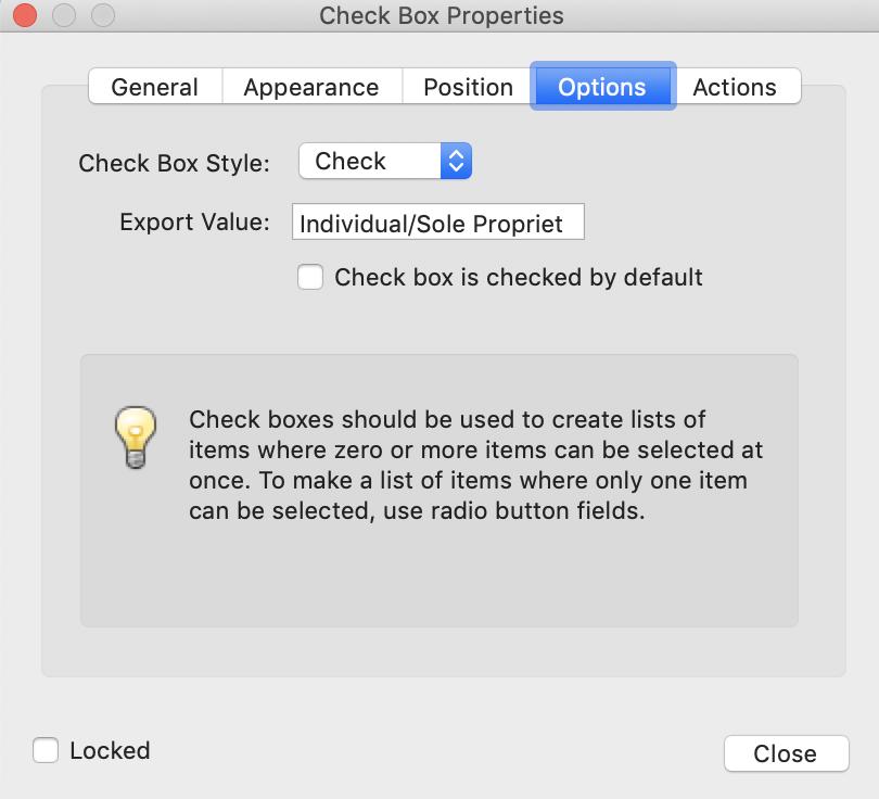 Adobe Pro Check Box Properties