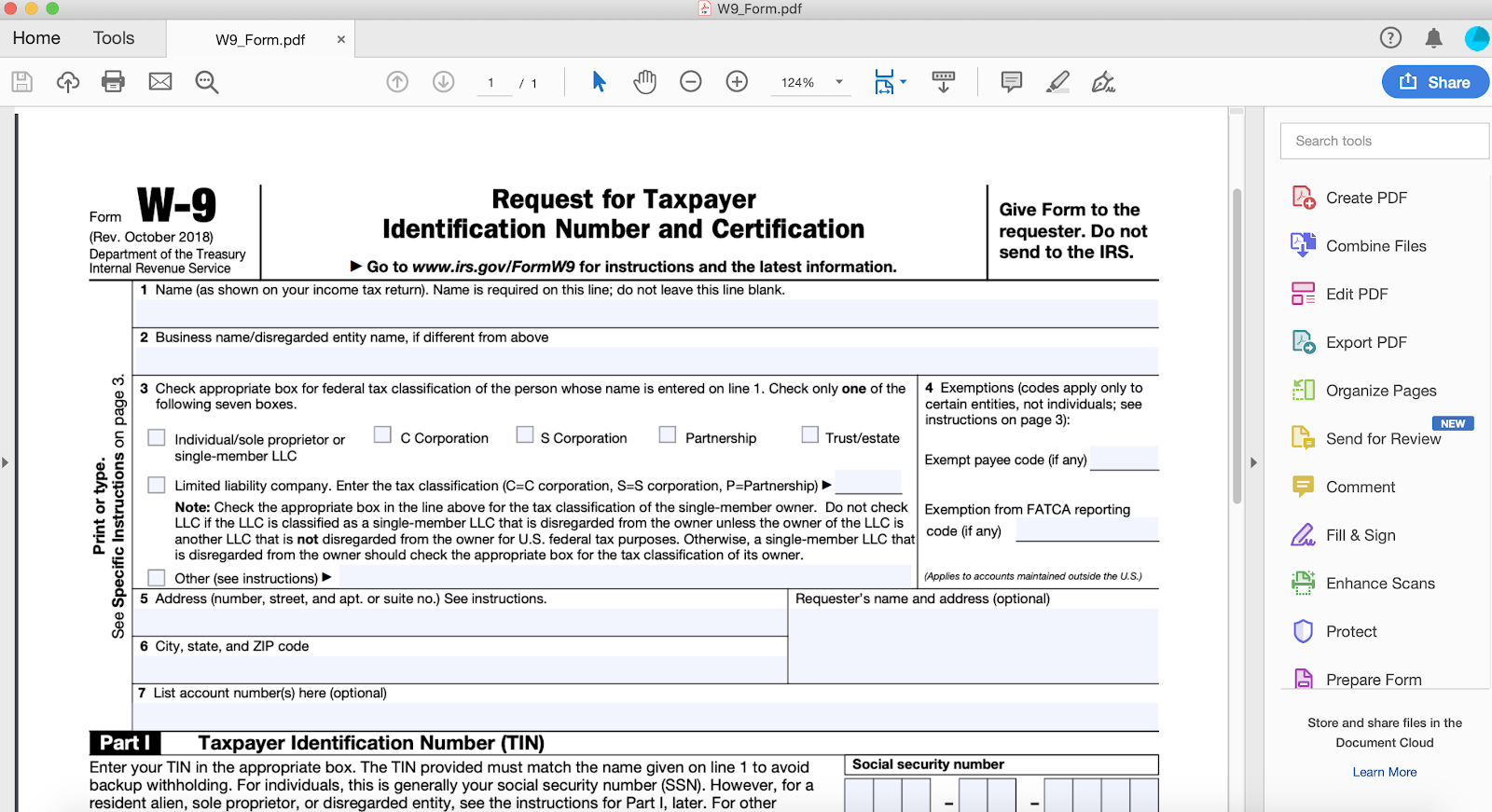 Blank W9 Government Form
