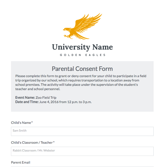 Parental Consent Form Template Formstack