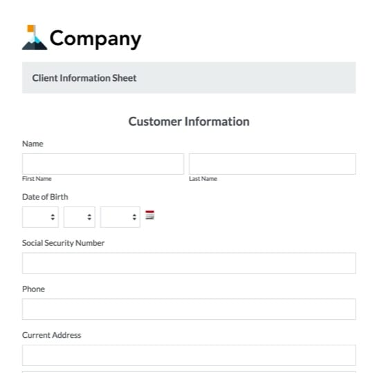 Client Information Form Template Formstack