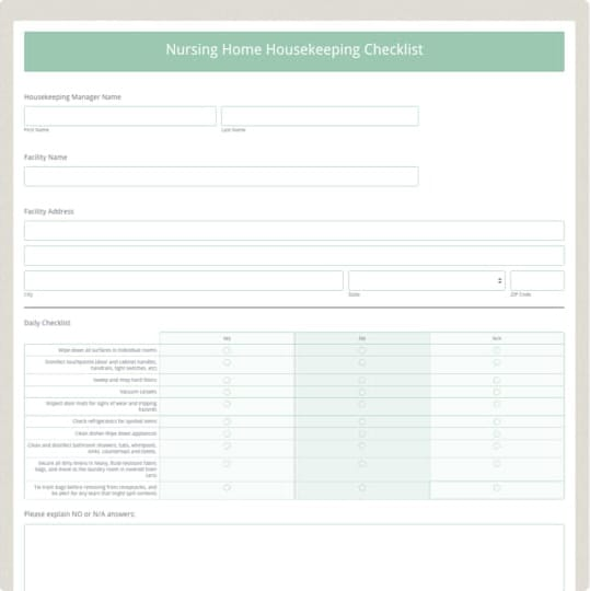 Nursing Home Housekeeping Checklist Template Formstack