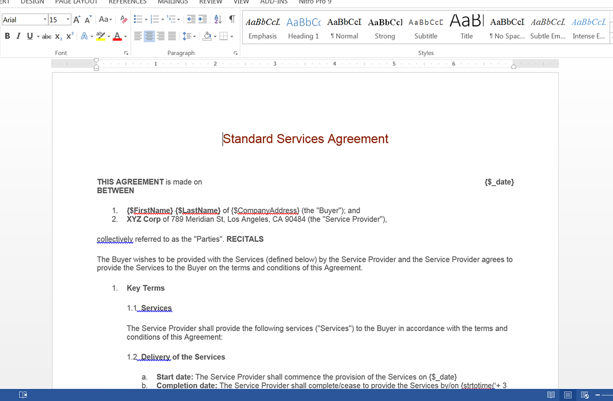 Standard Services Agreement Template Screenshot