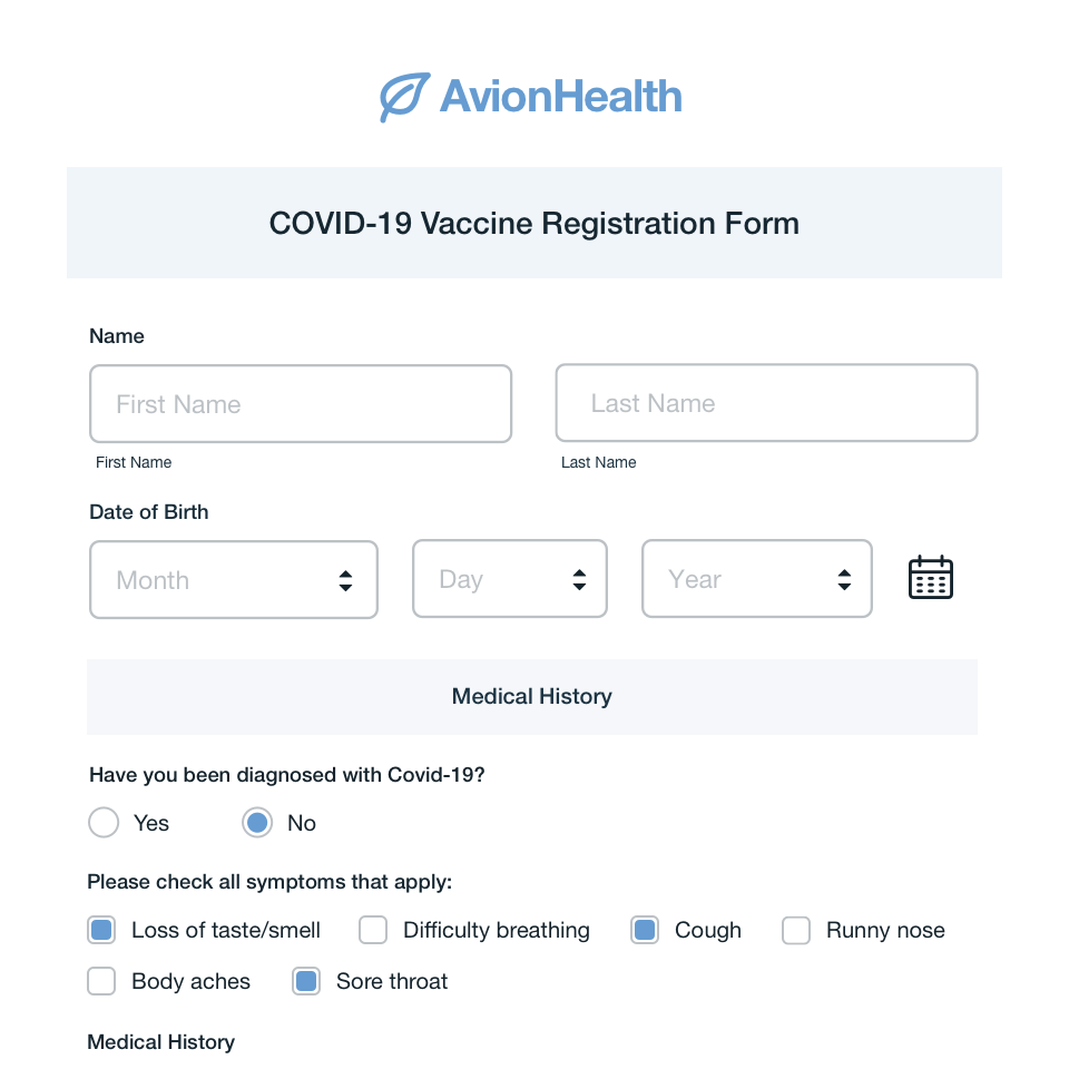 COVID-19 Vaccine Registration Form Template