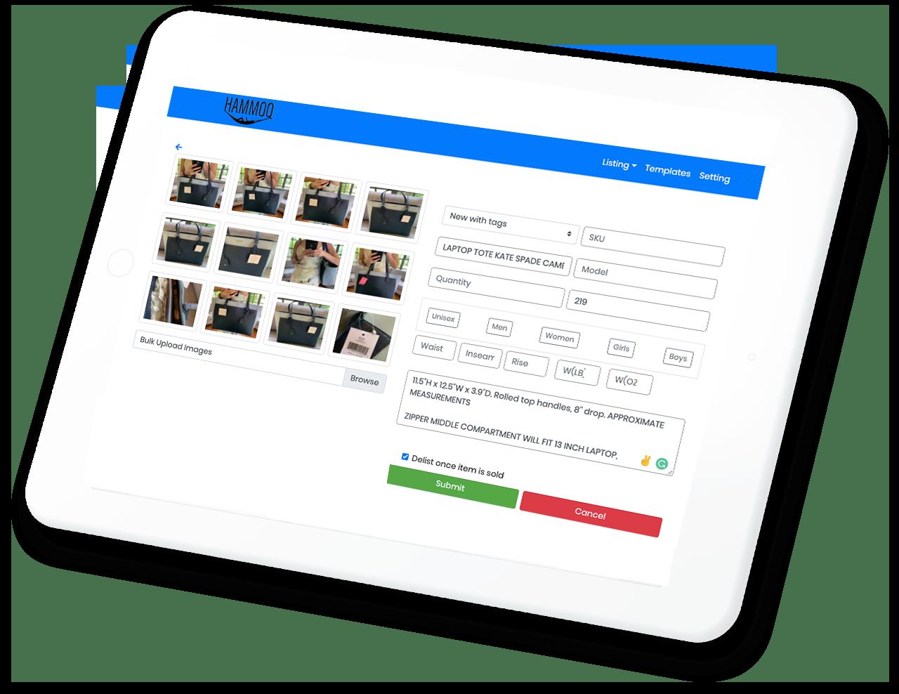 Hammoq Software that Auto Lists on eBay, poshmark, amazon, Depop