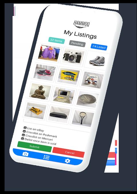 Hammoq Mobile App That List Products On eBay, Depop, Amazon,  Poshmark, Etsy, and Letgo all on one app.