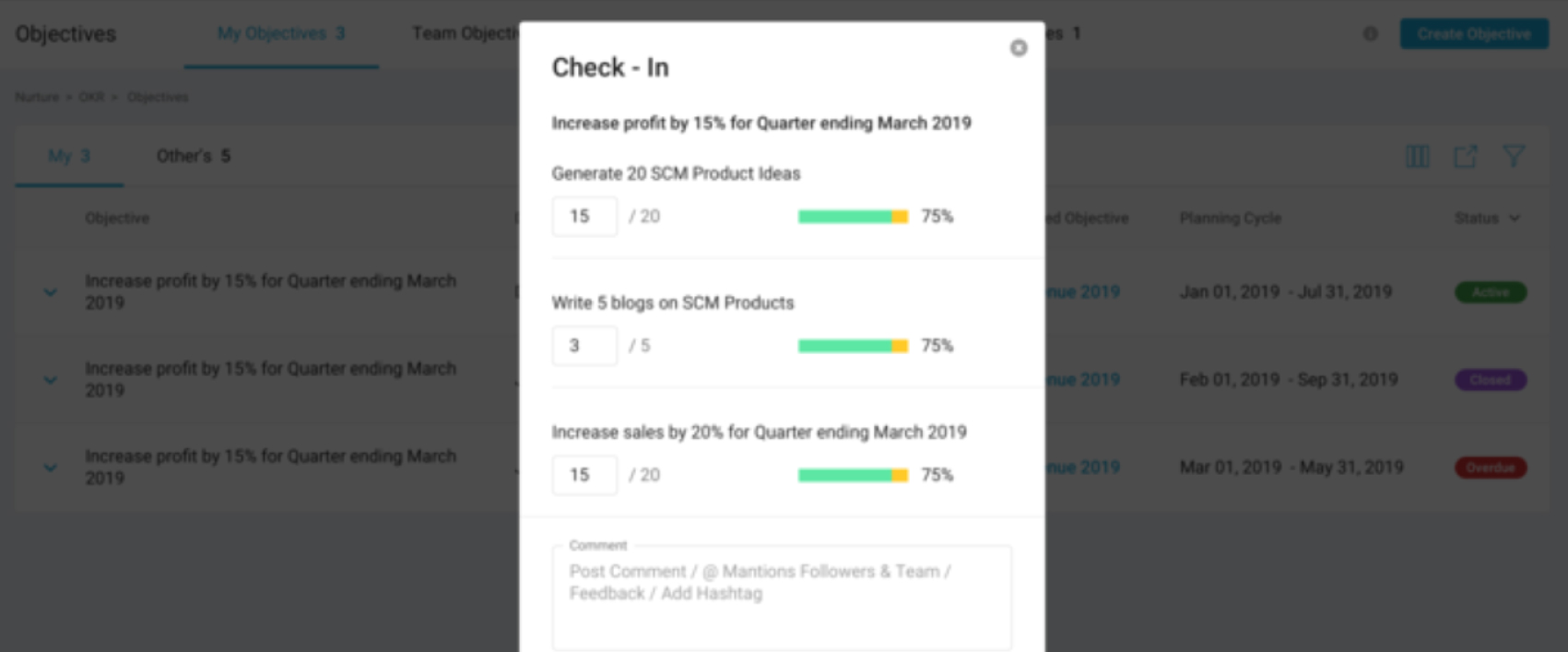 OKR management system-Seamless Check - Ins