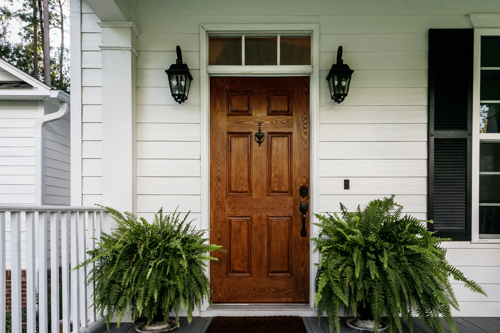 Front door of home with plants.