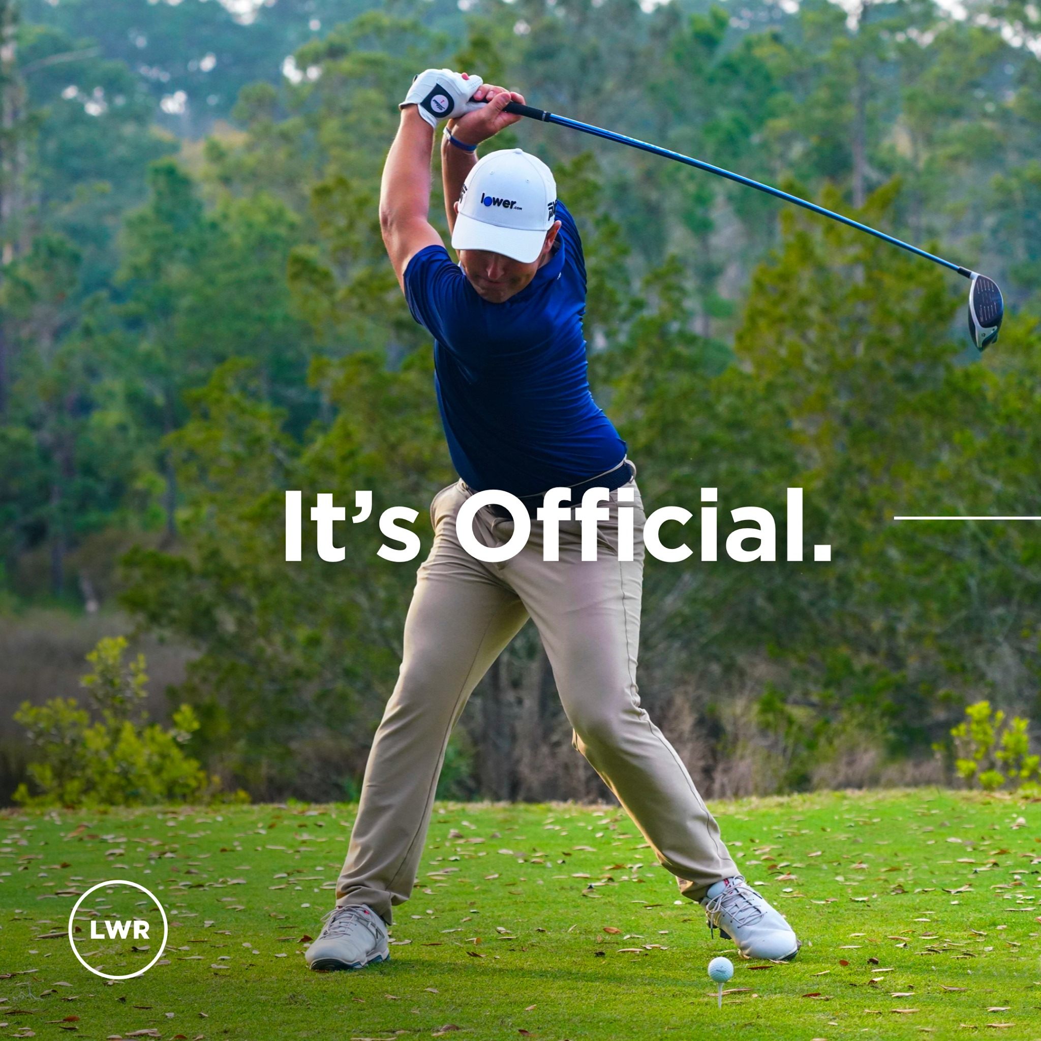 Professional golfer Justin Lower wears new Lower.com hat while practicing his golf swing.