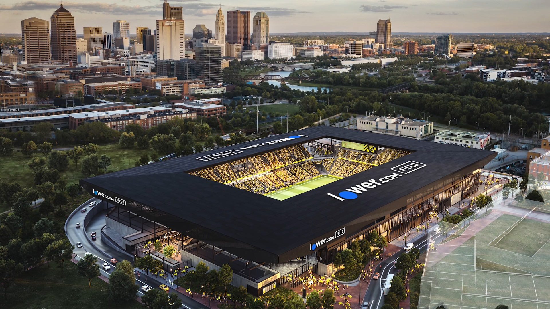 The new Lower.com Field rendering—home of the Columbus Crew.
