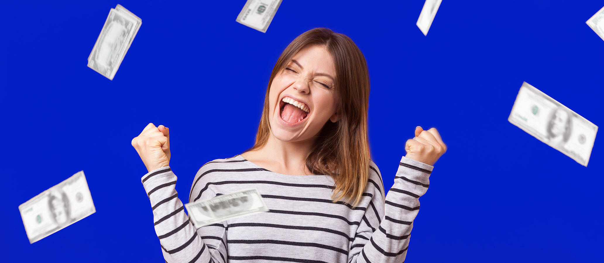 Happy woman, raining money. How to Save Up to $3,000 Per Year on Your Mortgage with RefiNow