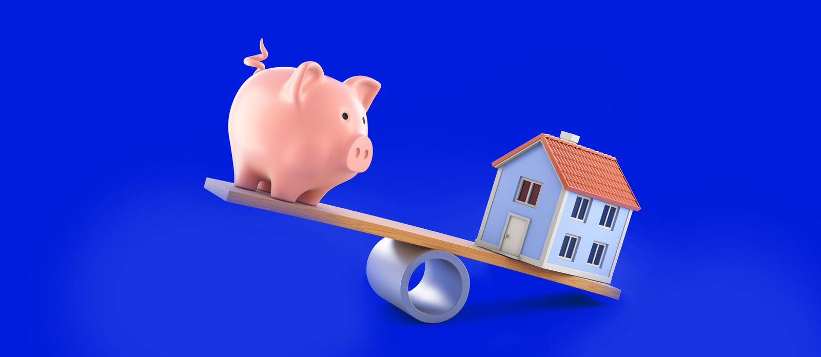 Piggy bank seesaw house. Should You Save for Retirement Or a House Down Payment?