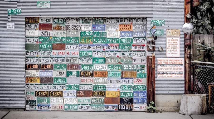 license plate wall in palisade