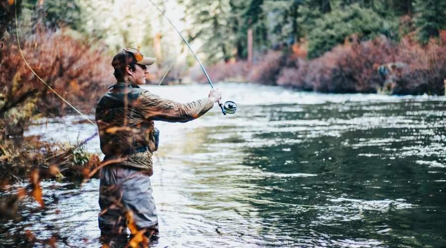 man fishing at lake arrowhead state park