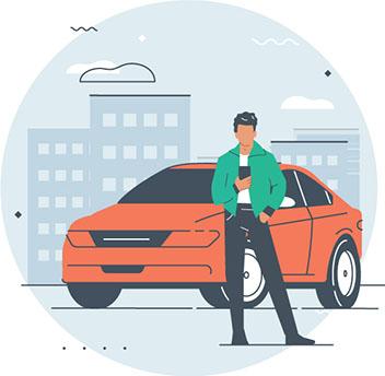 man checking his phone car sharing