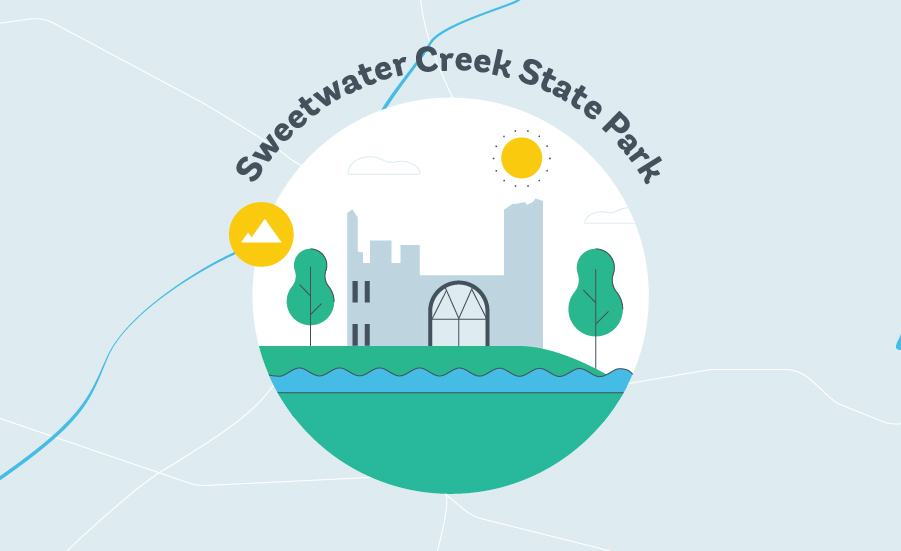 things to do in atlanta sweetwater creek state park graphic