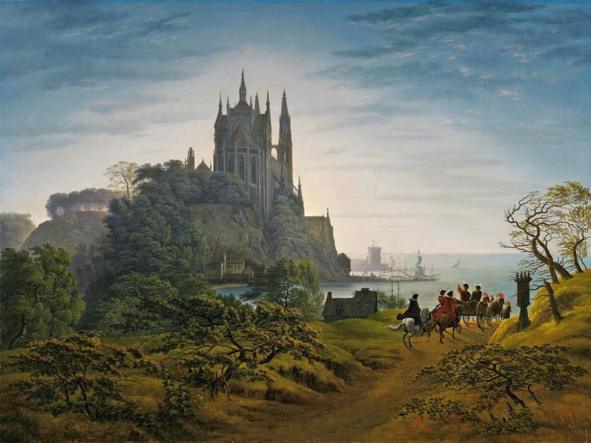 """Carl Friedrich Schinkel """"Gotische Kirche auf enime Felsen am meer"""" (1820)"""