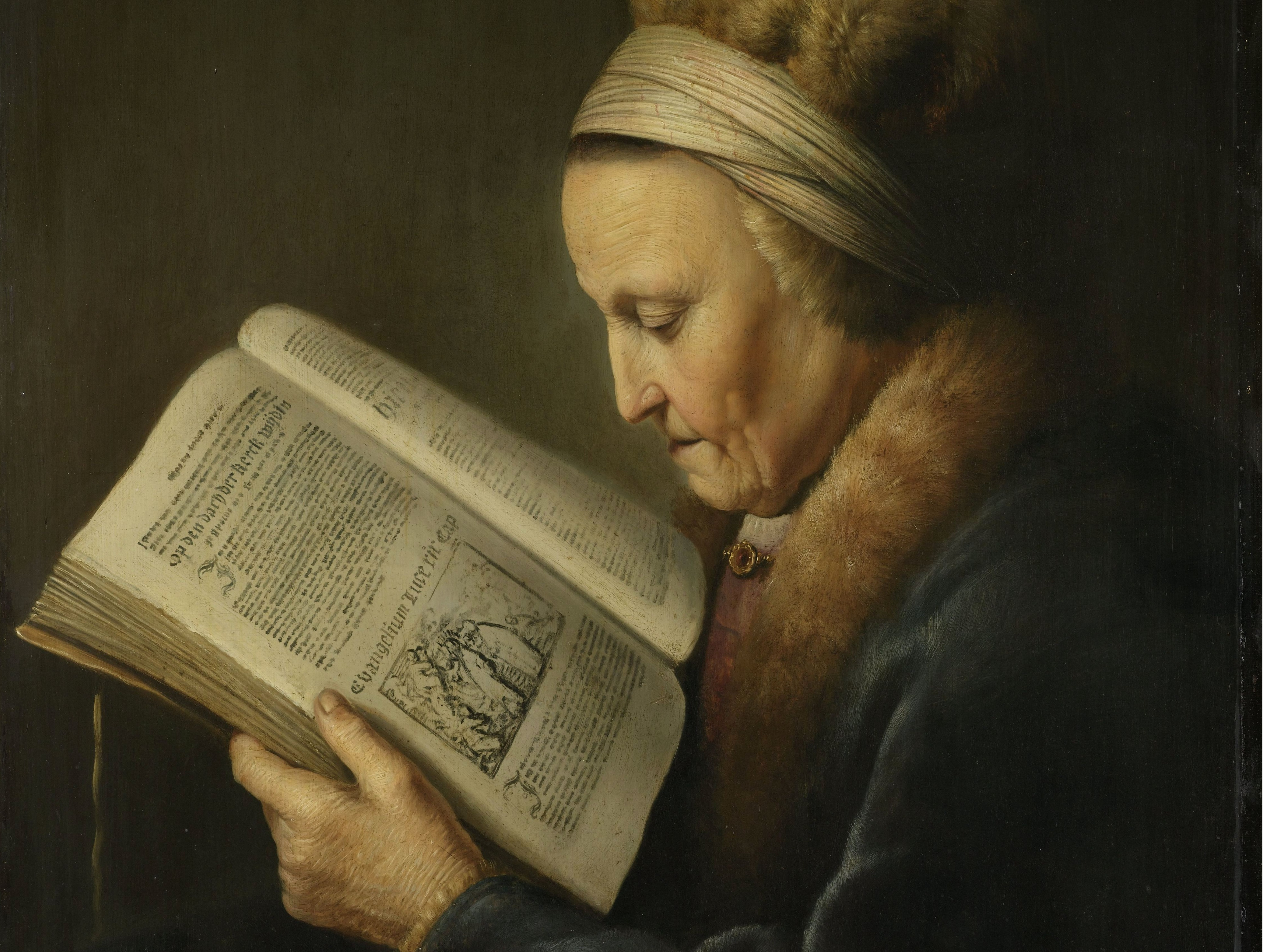 "Gerard Dou, ""Portrait of a Woman Reading"""