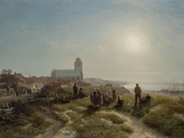 Salomon Leonardus Verveer - Een namiddag te Katwijk aan Zee