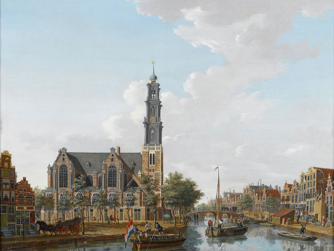 A View of the Westerkerk as Seen from the Prinsengracht, Amsterdam, Isaak Ouwater (1778)