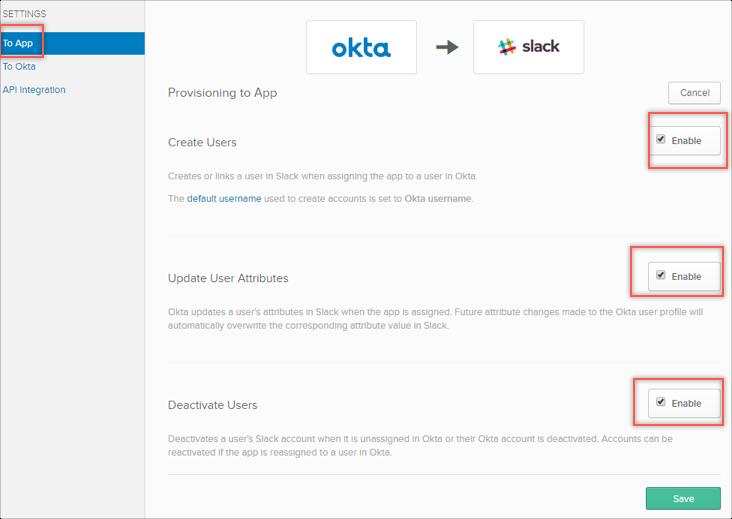 Slack SCIM user provisioning with Okta
