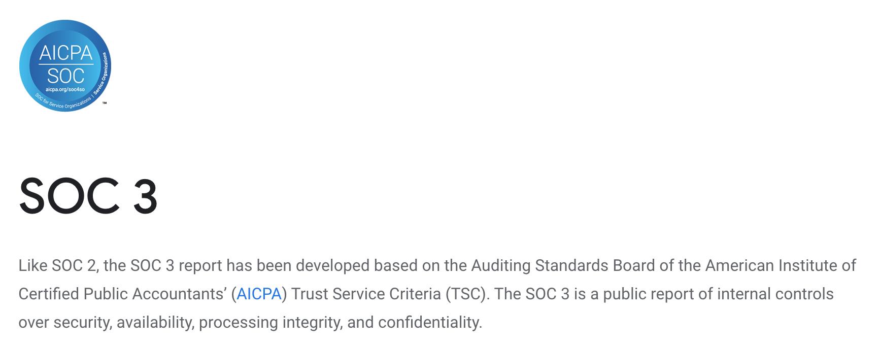 SOC 3 report from Google Cloud