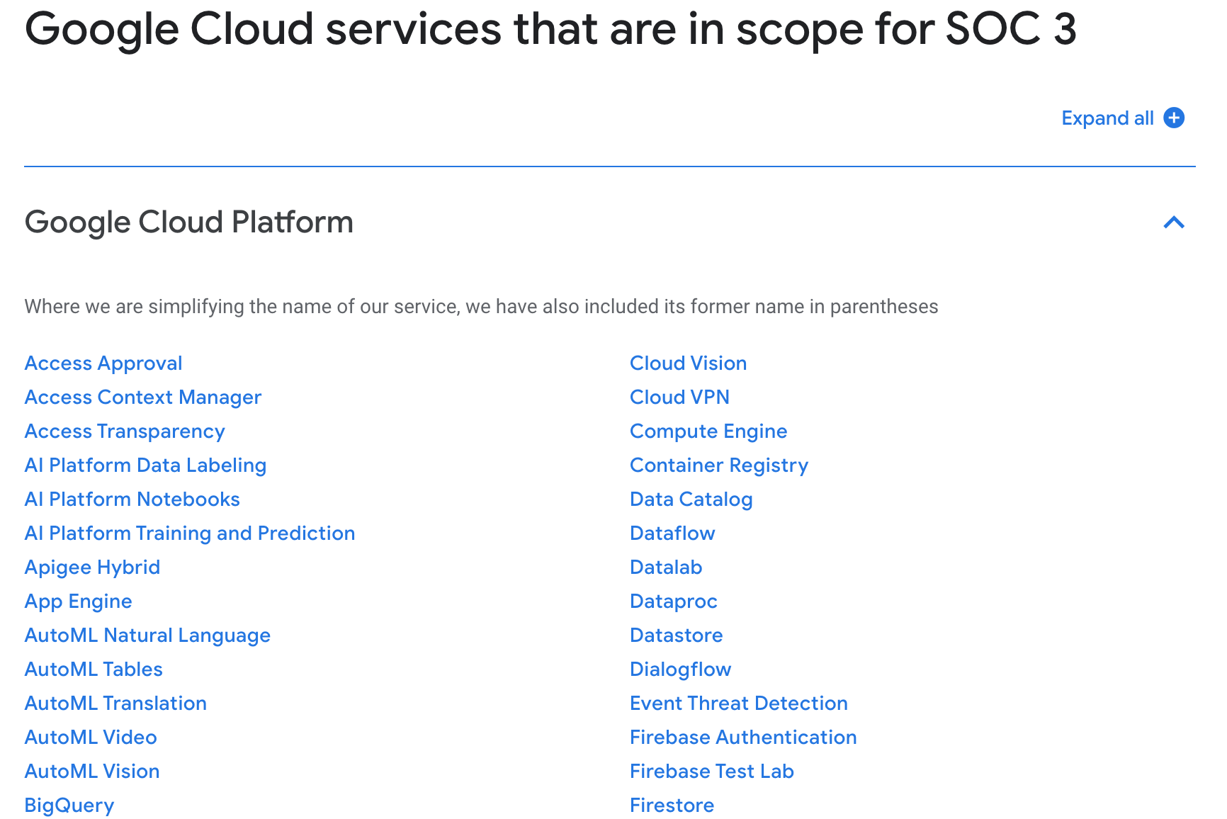 Google Cloud services in scope for SOC compliance