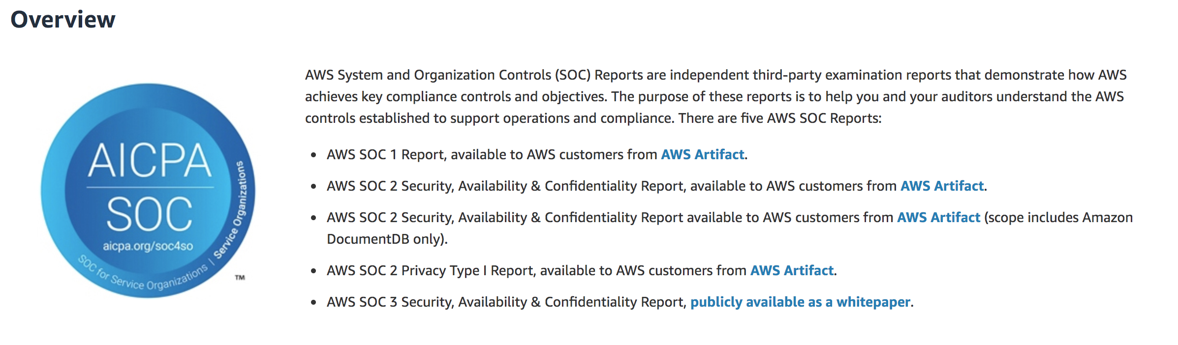 SOC 3 compliance for AWS